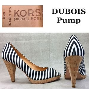 Michael Kors 6.5 M  B+W stripe Canvas DUBOIS Pumps
